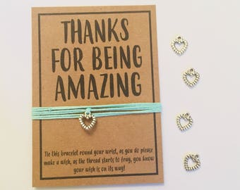 Thank you amazing friendship wish charm bracelet