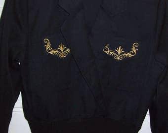 Jacket Medium, Vintage Battle Jacket Style, Epolets, Gold Braid, Knitted Cuffs and Bottom Size Medium see details