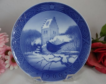Royal Copenhagen 1966 Christmas Plate - Blackbird and Church