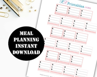 Meal Planning Printable Planner Stickers // Erin Condren Printable / Planner Instant Download / Planner Insert Digital Download 00108
