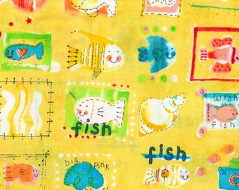 Alexander Henry Yellow Tale of Two Fish 100% Cotton Fabric Yardage OOP out of print
