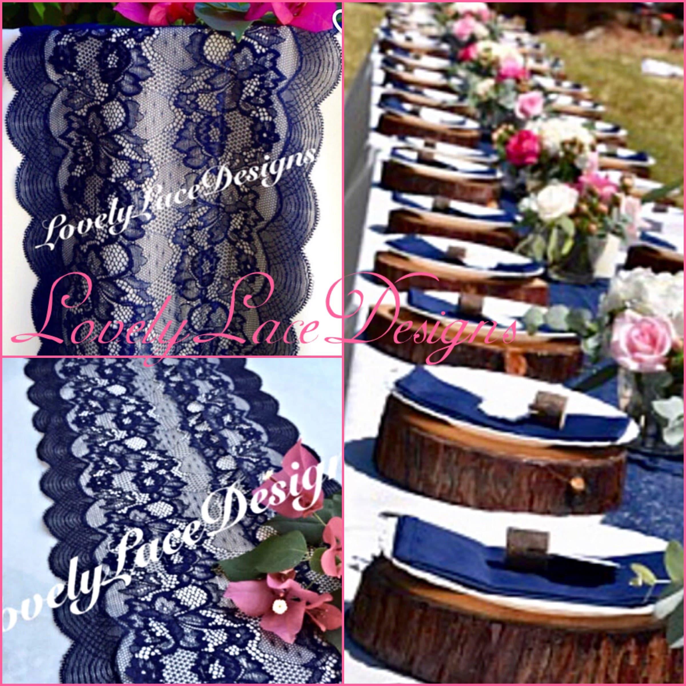NAVY Weddings/ Navy Blue Lace Table Runner/Wedding Decor/
