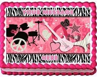 GIRL ROCKSTAR edible cake topper party image