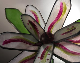 Soft Pink, Mauve and green 3-D medium stained glass garden flower