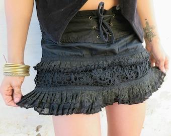 Gypsy Skirt, Mini Skirt, Boho, Steampunk, Short Skirt, Festival Skirt, Pixie Skirt, Burning Man, Hippie Skirt, Bourlesque, Forest,