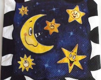 10 napkins - Moon Star sky - stars REF.  309