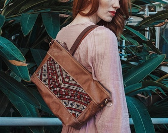 Moroccan Bag. Everyday Bag. Leather Crossbody. Leather Shoulder Bag.  Boho Bag.  Kilim Bag. Ready to Ship. Gypsy Boho Bag.