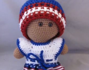 Crochet Amigurumi Patriotic Fashion Baby Doll, red white and blue Dress, Cuddly Baby Doll, Soft Toy, Waldorf Doll, Stuffed Doll, Rag Doll