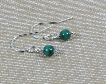Very Tiny Malachite and Sterling Silver Earrings