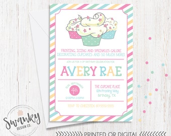 Cupcake Decorating Birthday Invitation, Cupcake Birthday Invitation, Girl Birthday Invitation, Cupcake Party Theme, Lil Cupcake Birthday