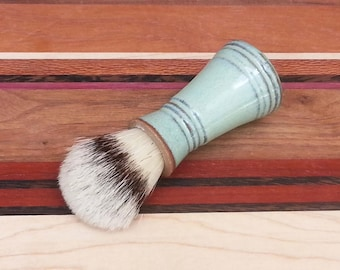 Men's Shaving Brush with Boars Hair Bristles Soft Stripe Green