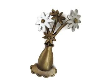 Brass Flower Brooch, Vintage JJ Brooch, Brass & Pewter Floral Pin, Bouquet Brooch, Two Tone Signed Designer Brooch