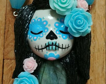 Blue Day-of-the-Dead Goddess Polymer Clay Pendant Necklace