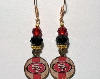 Beautiful SF Niners  Earrings with Crystal