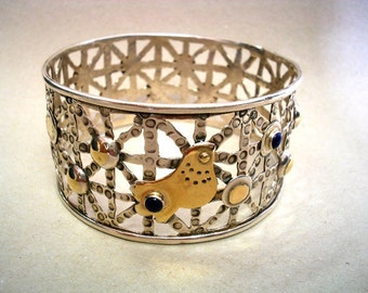Silver Gold Bangle, Silver Gold Bracelet, Statement Bracelet, Two Tone Bracelet, Sterling Gold Bangle, Hammered Bracelet, Artisan Jewelry