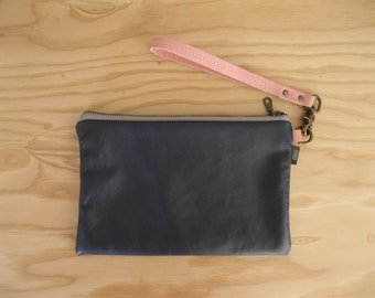 Navy Leather Clutch - Zipper Wristlet Pouch, Pink Leather Detachable Strap. Small Leather Bag, Leather Zipper Clutch