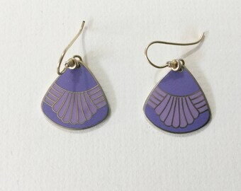 Laurel Burch earrings, Laurel Burch dangles, Laurel Burch, enamel earrings, purple dangles,  Vtg Laurel Burch, purle earrings