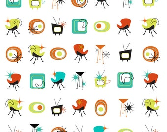 Mid Century One Inch Designs Retro Collage Sheet - 1950s 1960s - Digital Download - Instant Download