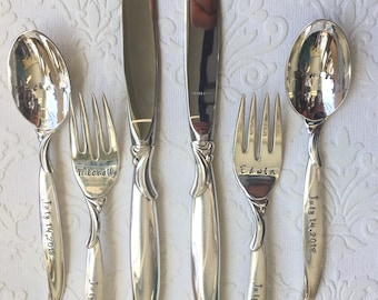 Custom wedding dinner flatware set