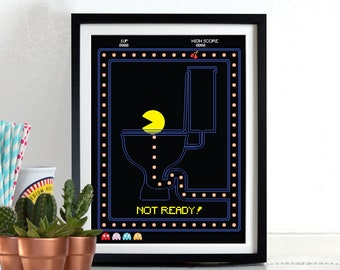 Computer Game Retro Hero Pac-Man, Pacman On the Toilet Poster Wall Art Hanging Print Home Décor, Humour