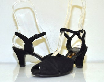 40s Vintage Black Leather Peep Toe Heels   by Hines   Size 6