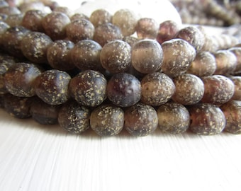round brown glass beads ,  rustic lampwork beads , matte translucent , gritty textured aged look , indonesian   (16 beads)  6ak1-2