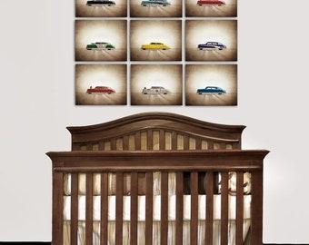FLASH SALE til MIDNIGHT On Sale Vintage Classic Argo Tin Cars, Set of Nine Photo prints, Nursery Decor, Car prints, Boys Room Decor
