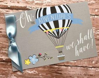 Hot Air Balloon Baby Shower Invitation, Blue Boy Adventure baby shower, Baby Shower Banner, Up and Away Baby Shower Invitation, boy shower