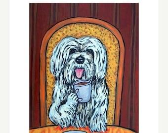 25% off Havanese at the Cafe Dog Art Print  JSCHMETZ modern abstract folk pop art AMERICAN ART gift