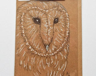 Barn Owl ORIGINAL drawing on recycled blank greetings card