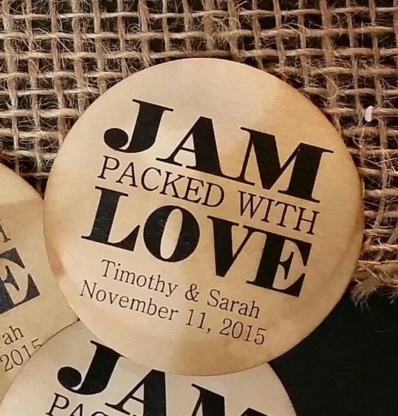 """2"""" STICKER Jam Packed with Love Personalized Wedding Shower Favor STICKER choose your amount sold in sets of 20 STICKERS"""