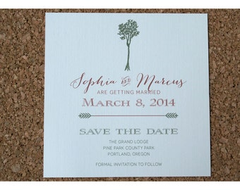 Vintage Etched Tree Save the Date