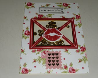 Sealed With A Kiss Valentine Shaker Card