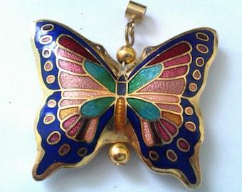 vintage enamelled cloisonne butterfly pendant
