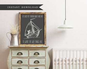 DOWNLOAD: Where the Wild Things Are - He sailed of through night and day / Max in Boat / 8 x 10 print