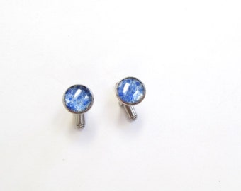 Small Blue Cufflinks, upcycled beer bottle glass, Glass, Holiday, Gift, Father's Day, New Orleans, Stainless Steel