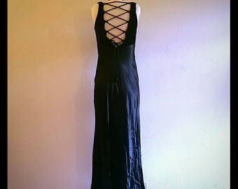 90s slinky black maxi dress