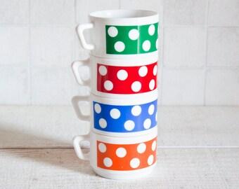 Set of 4 Opal White Glass Coffee Cups - Polka Dots Kitchen Retro Decor - Arcopal French Vintage 1970s