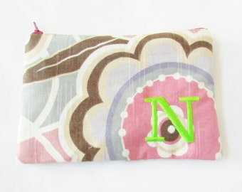 Cosmetic bag - Monogrammed Make up Bag - N pouch - Ready to Ship - Bridesmaid Bag - Personalized Gift - Make up Organizer - Monogrammed Gift