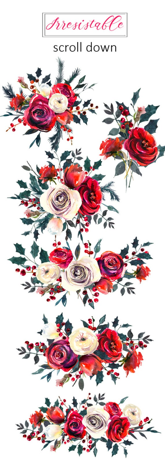 Red White Roses Watercolor Clipart Flowers Bouquets White
