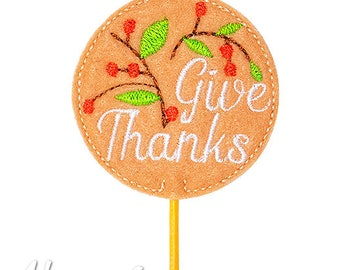 Give Thanks Cupcake Topper Embroidery Design, machine embroidery, ITH, in the hoop, 4x4, thanksgiving embroidery design, holiday topper