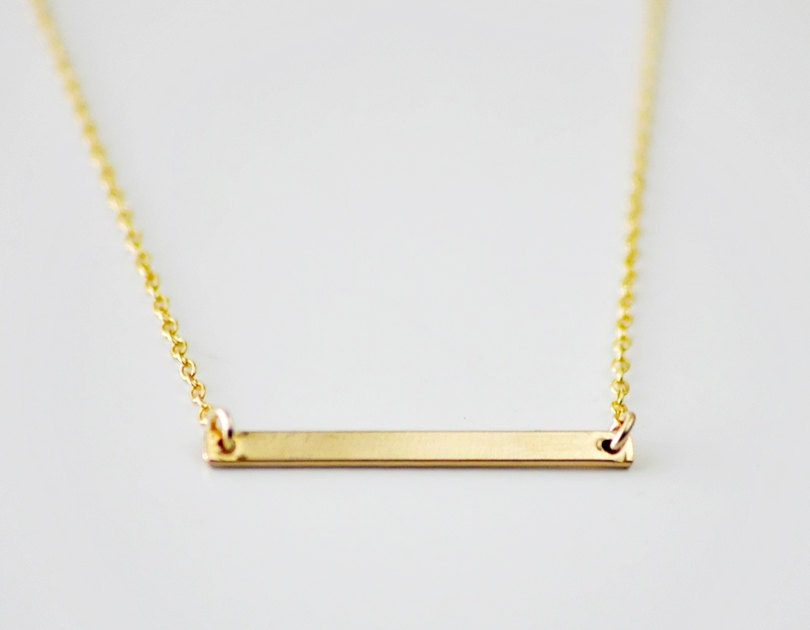 Gold Bar minimal necklace horizontal bar layering necklace