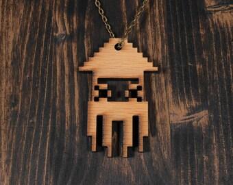 Super Mario Squid Blooper Laser Cut Wood Necklace