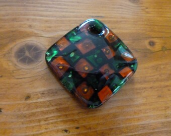 Vintage Murano Fused Glass Pendant, Red Green and Black Checked Design, Gift for Her, Mosaic Supplies, Glass Art