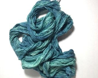 """Green Blue Silk Scarf Hand Dyed Long Fiber Art Unisex OOAK from """"Textured Silks"""" Collection"""