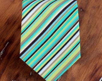 Mens green striped necktie - green brown blue pin striped woven cotton neck tie, mens necktie, teens necktie, wedding tie, traditional tie