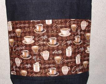 New Handmade Large Coffee Java Denim Tote Bag