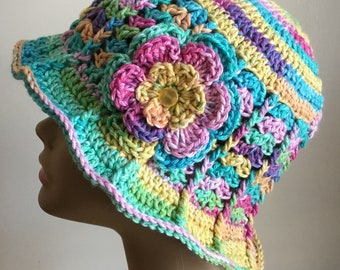 Women's crochet  sun hat, summer / spring,  COTTON, chemo hat, night multi-colors,  removable flower, Ready to ship. S69