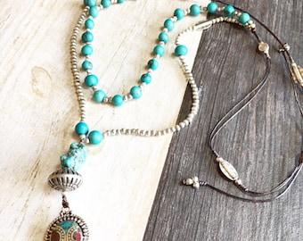 Long beaded necklace, long blue necklace, long boho necklace