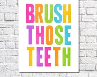 Brosser les dents Art Print, mignon brosse votre Art de rappel de dents pour salle de bain, impression typographique néon lumineux. Salle de bain Decor signe enfants